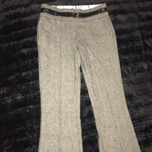 Bebe size 2 wool leather trim dress pants slacks